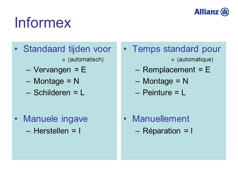 Informex Standaard tijden voor »(automatisch) –Vervangen = E –Montage = N –Schilderen = L Manuele ingave –Herstellen = I Temps standard pour »(automat
