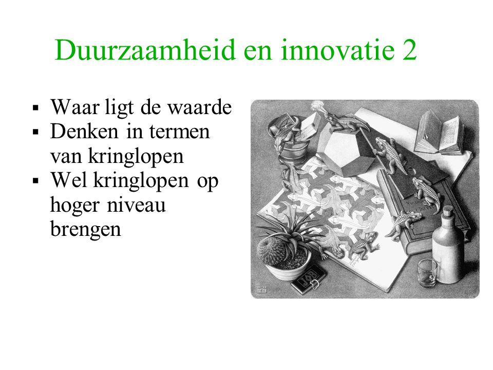 Duurzaamheid en innovatie 2  Waar ligt de waarde  Denken in termen van kringlopen  Wel kringlopen op hoger niveau brengen