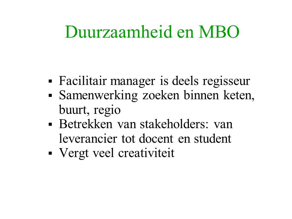 Duurzaamheid en MBO  Facilitair manager is deels regisseur  Samenwerking zoeken binnen keten, buurt, regio  Betrekken van stakeholders: van leverancier tot docent en student  Vergt veel creativiteit