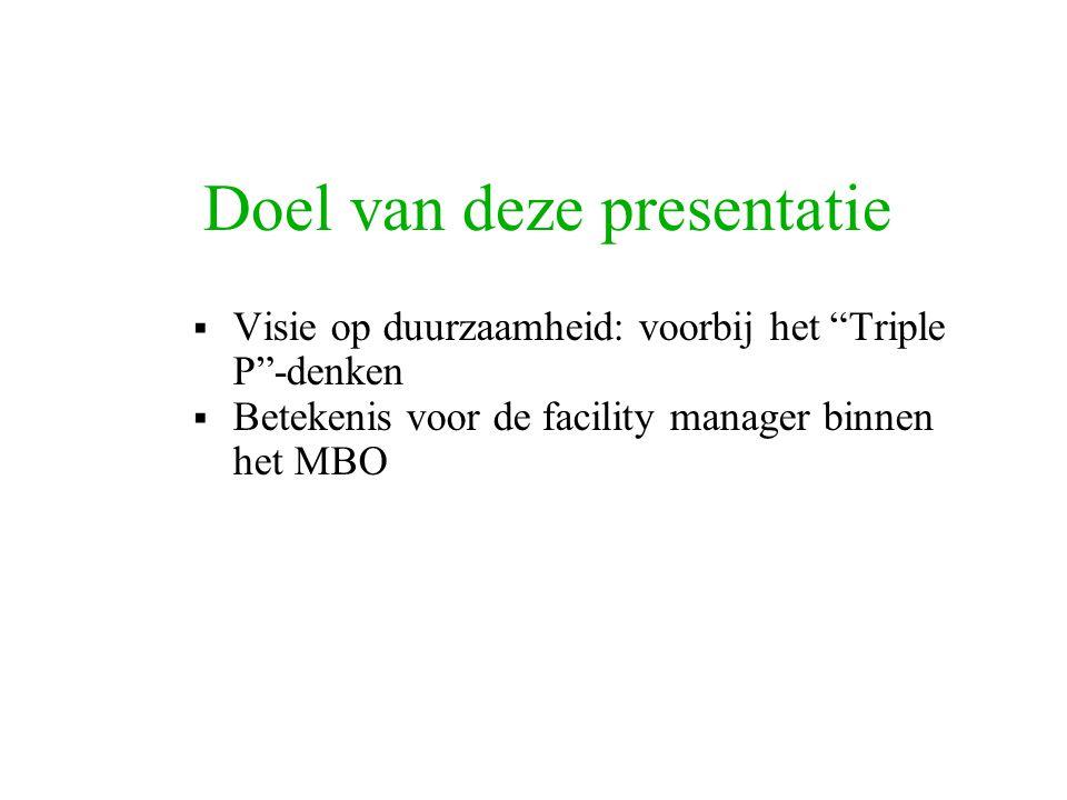 Doel van deze presentatie  Visie op duurzaamheid: voorbij het Triple P -denken  Betekenis voor de facility manager binnen het MBO