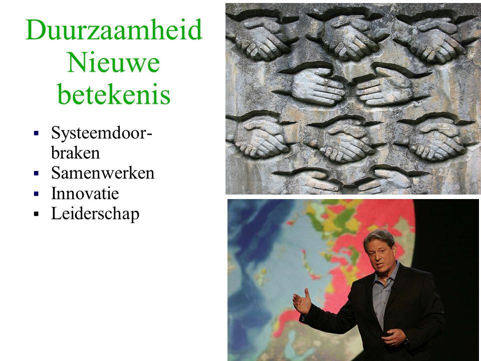 Duurzaamheid Nieuwe betekenis  Systeemdoor- braken  Samenwerken  Innovatie  Leiderschap