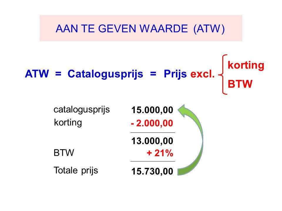 15.000,00 korting 13.000,00 + 21% 15.730,00 AAN TE GEVEN WAARDE (ATW) ATW = Catalogusprijs =Prijs excl.