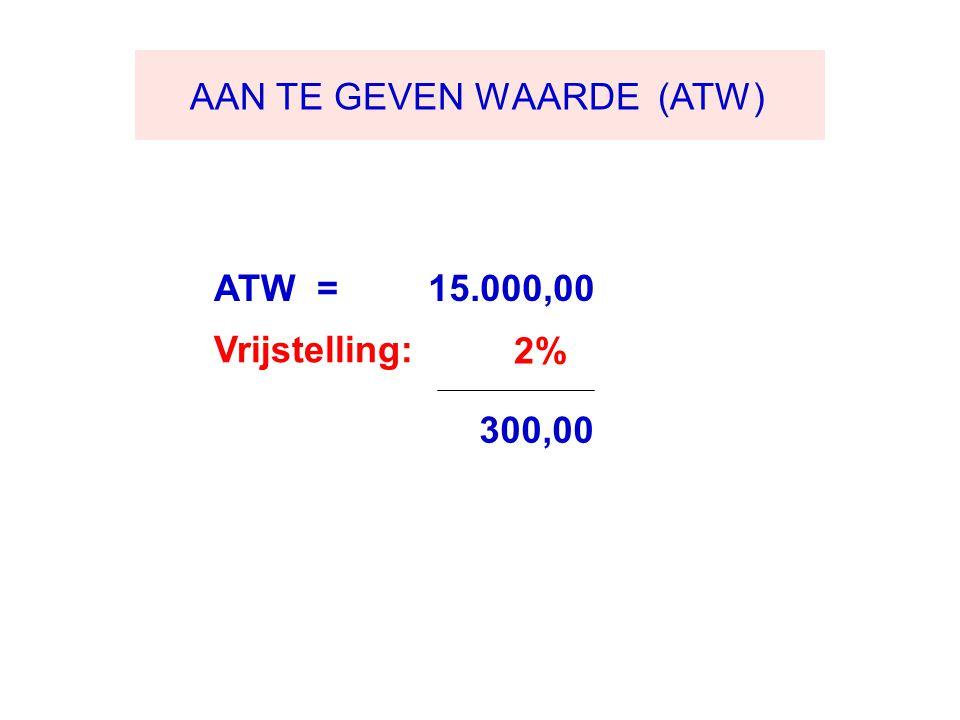 AAN TE GEVEN WAARDE (ATW) ATW = 15.000,00 Vrijstelling: 2% 300,00