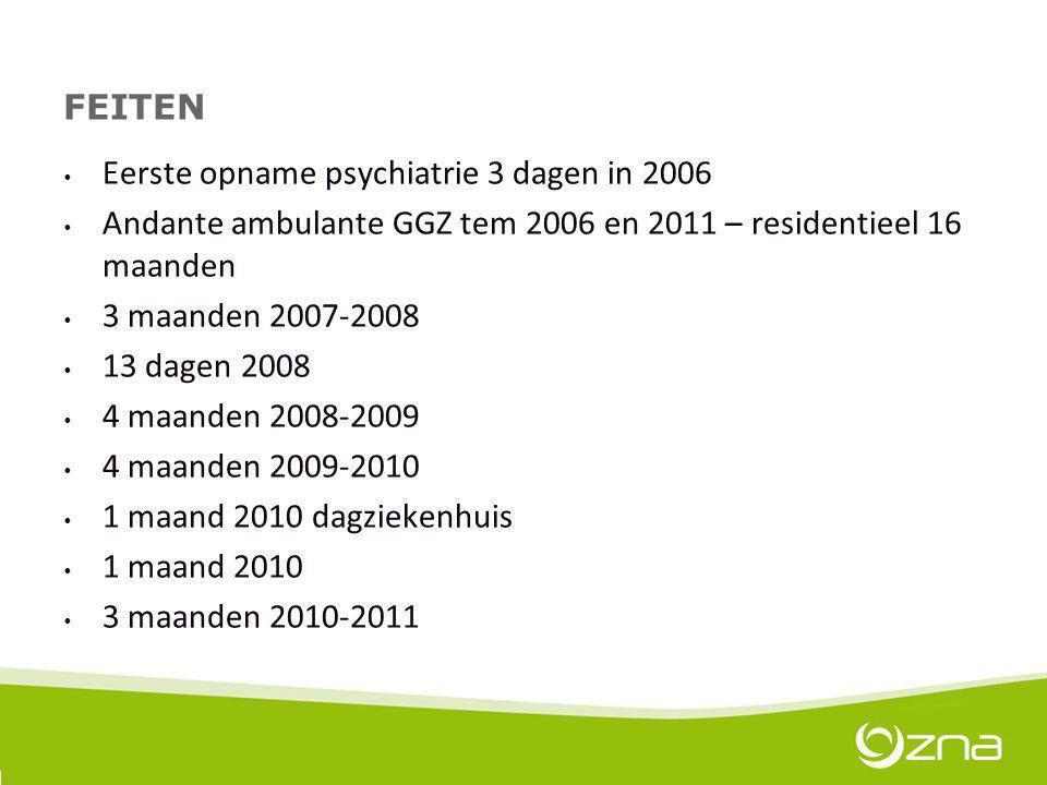 FEITEN Eerste opname psychiatrie 3 dagen in 2006 Andante ambulante GGZ tem 2006 en 2011 – residentieel 16 maanden 3 maanden 2007-2008 13 dagen 2008 4