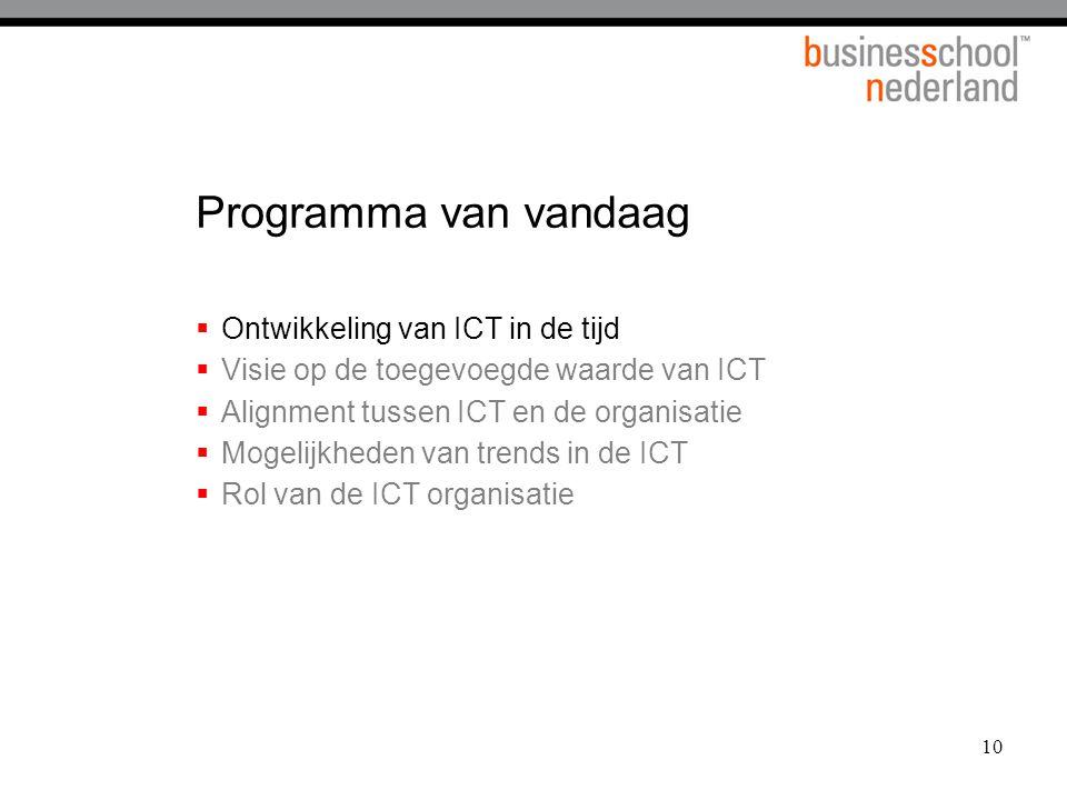 10 Programma van vandaag  Ontwikkeling van ICT in de tijd  Visie op de toegevoegde waarde van ICT  Alignment tussen ICT en de organisatie  Mogelij