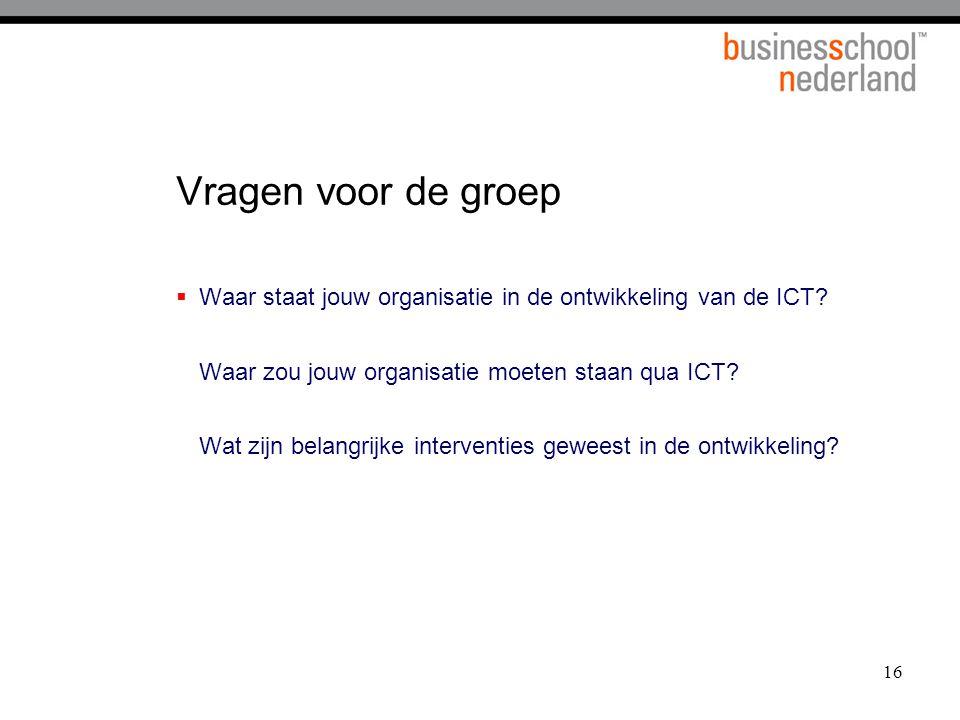 16 Vragen voor de groep  Waar staat jouw organisatie in de ontwikkeling van de ICT? Waar zou jouw organisatie moeten staan qua ICT? Wat zijn belangri