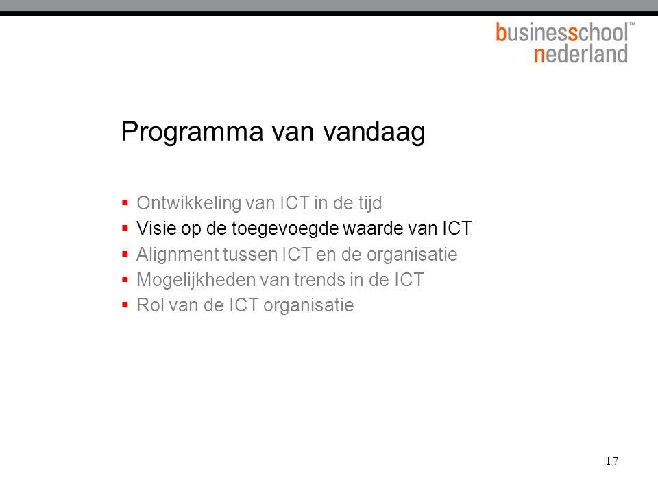 17 Programma van vandaag  Ontwikkeling van ICT in de tijd  Visie op de toegevoegde waarde van ICT  Alignment tussen ICT en de organisatie  Mogelij