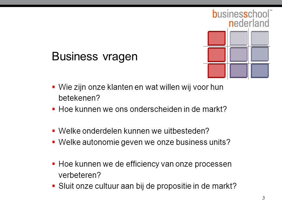 3 Business vragen  Wie zijn onze klanten en wat willen wij voor hun betekenen?  Hoe kunnen we ons onderscheiden in de markt?  Welke onderdelen kunn