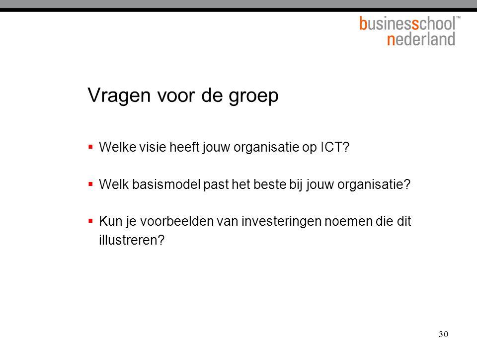 30 Vragen voor de groep  Welke visie heeft jouw organisatie op ICT?  Welk basismodel past het beste bij jouw organisatie?  Kun je voorbeelden van i