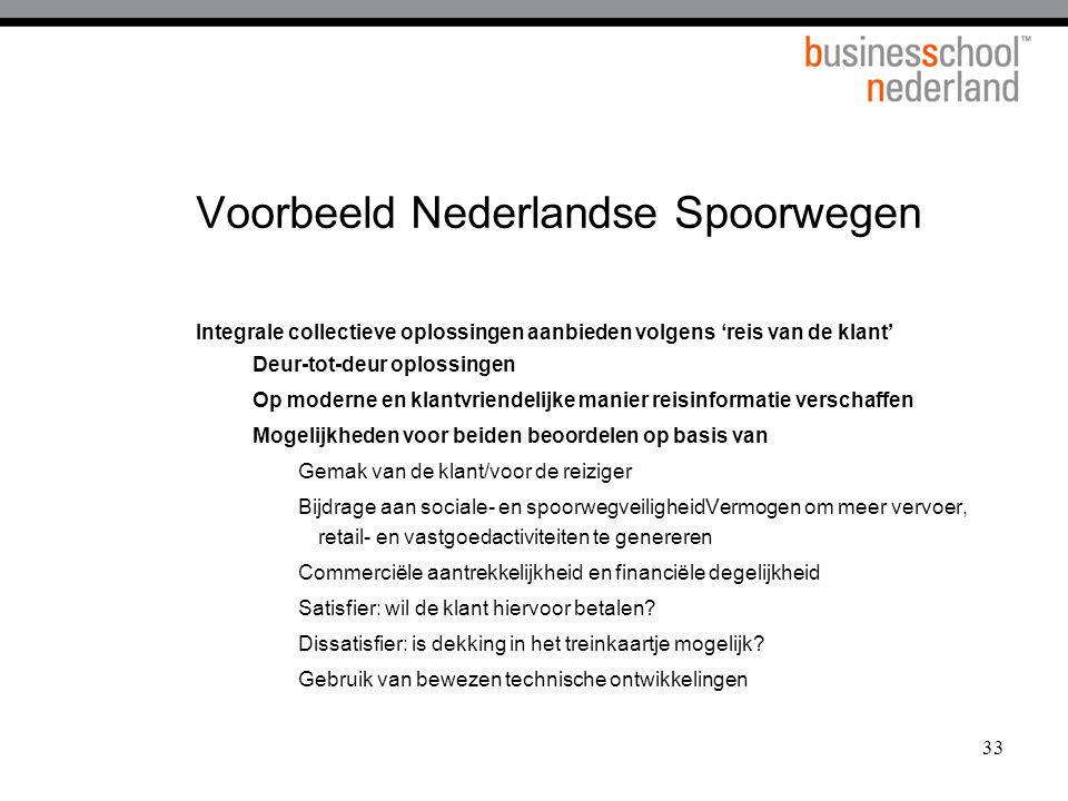 33 Voorbeeld Nederlandse Spoorwegen Integrale collectieve oplossingen aanbieden volgens 'reis van de klant' Deur-tot-deur oplossingen Op moderne en kl