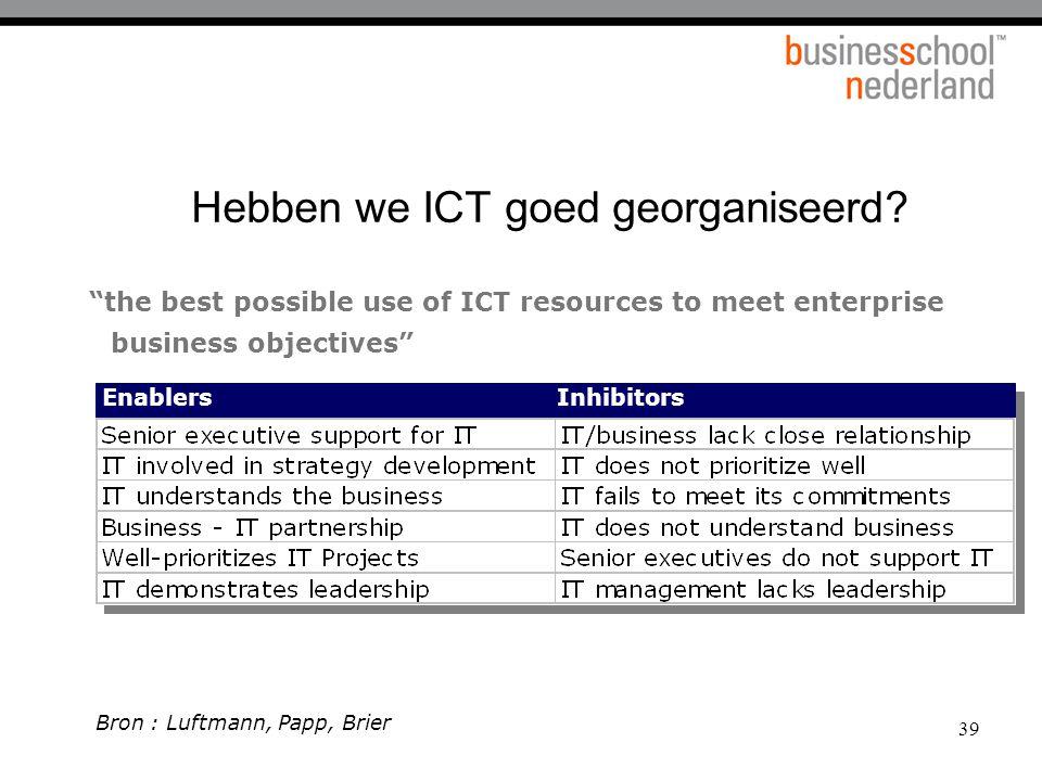 """39 Hebben we ICT goed georganiseerd? """"the best possible use of ICT resources to meet enterprise business objectives"""" EnablersInhibitors Bron : Luftman"""
