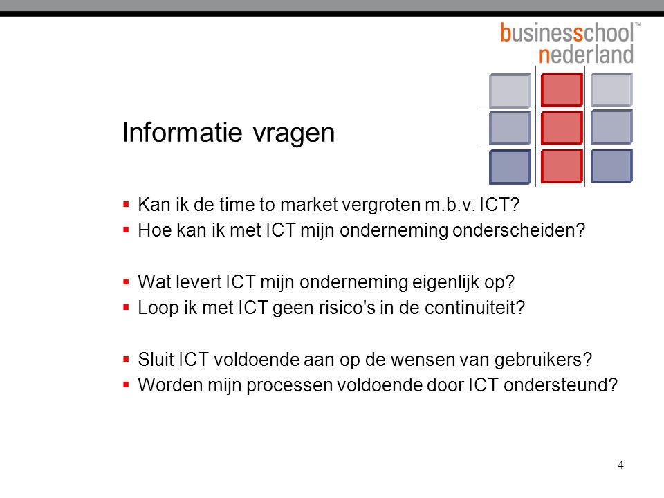 4 Informatie vragen  Kan ik de time to market vergroten m.b.v. ICT?  Hoe kan ik met ICT mijn onderneming onderscheiden?  Wat levert ICT mijn ondern