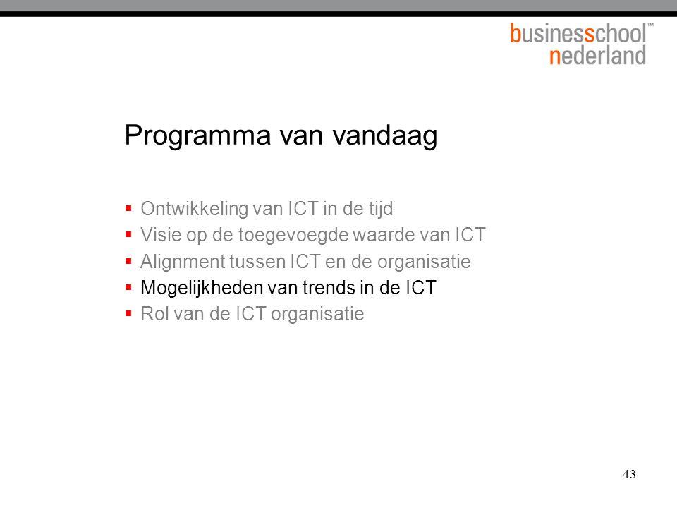 43 Programma van vandaag  Ontwikkeling van ICT in de tijd  Visie op de toegevoegde waarde van ICT  Alignment tussen ICT en de organisatie  Mogelij