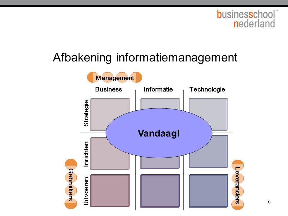 17 Programma van vandaag  Ontwikkeling van ICT in de tijd  Visie op de toegevoegde waarde van ICT  Alignment tussen ICT en de organisatie  Mogelijkheden van trends in de ICT  Rol van de ICT organisatie