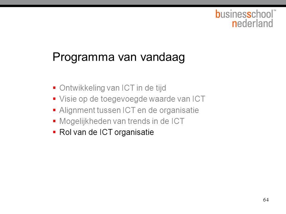 64 Programma van vandaag  Ontwikkeling van ICT in de tijd  Visie op de toegevoegde waarde van ICT  Alignment tussen ICT en de organisatie  Mogelij