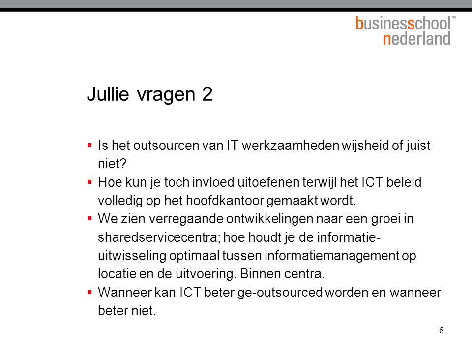 19 Richtinggevende vragen  Willen we ons met ICT onderscheiden in de markt.