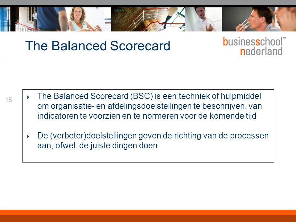 15 The Balanced Scorecard  The Balanced Scorecard (BSC) is een techniek of hulpmiddel om organisatie- en afdelingsdoelstellingen te beschrijven, van