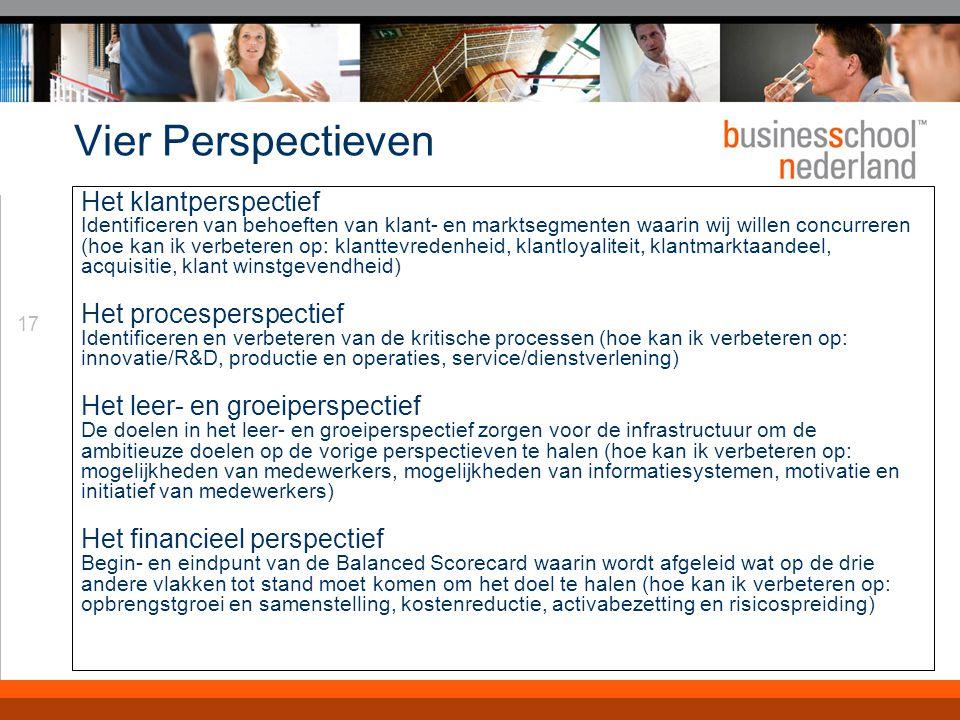 17 Vier Perspectieven Het klantperspectief Identificeren van behoeften van klant- en marktsegmenten waarin wij willen concurreren (hoe kan ik verbeter