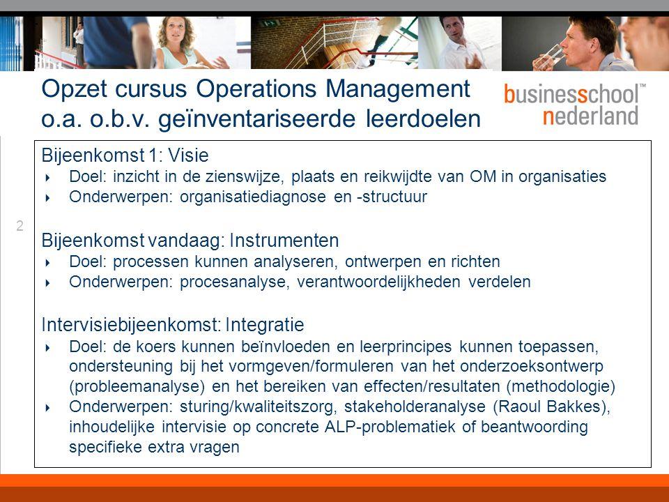 2 Opzet cursus Operations Management o.a. o.b.v. geïnventariseerde leerdoelen Bijeenkomst 1: Visie  Doel: inzicht in de zienswijze, plaats en reikwij