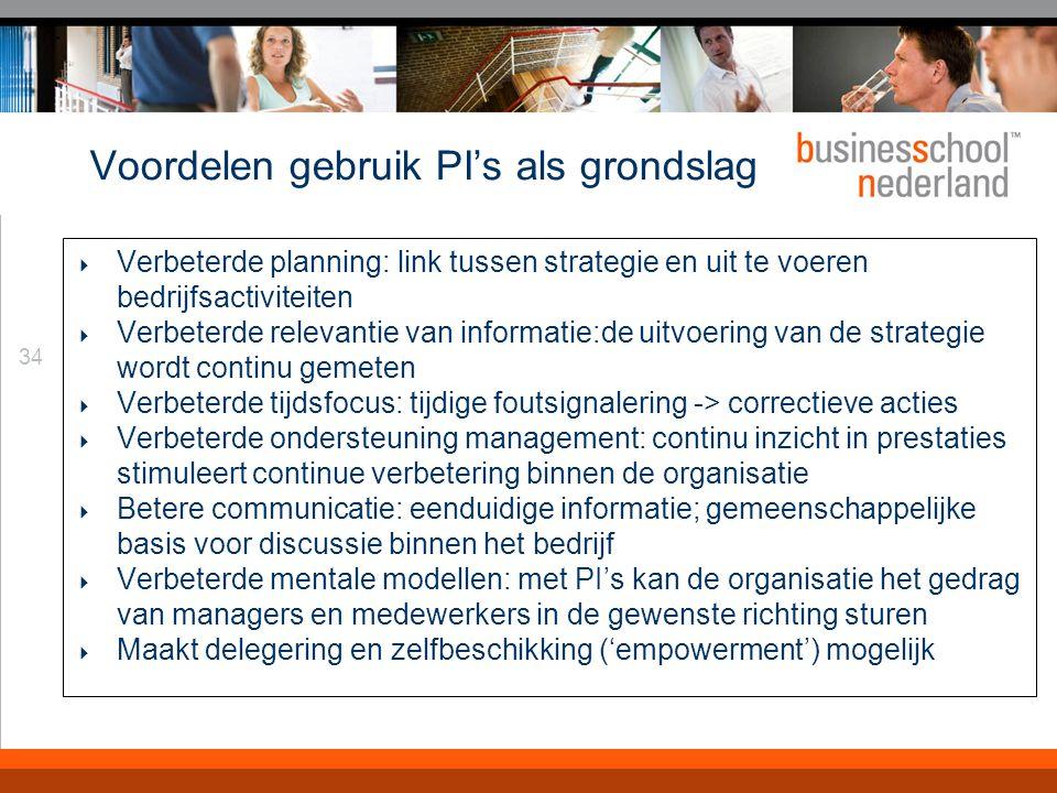 34 Voordelen gebruik PI's als grondslag  Verbeterde planning: link tussen strategie en uit te voeren bedrijfsactiviteiten  Verbeterde relevantie van