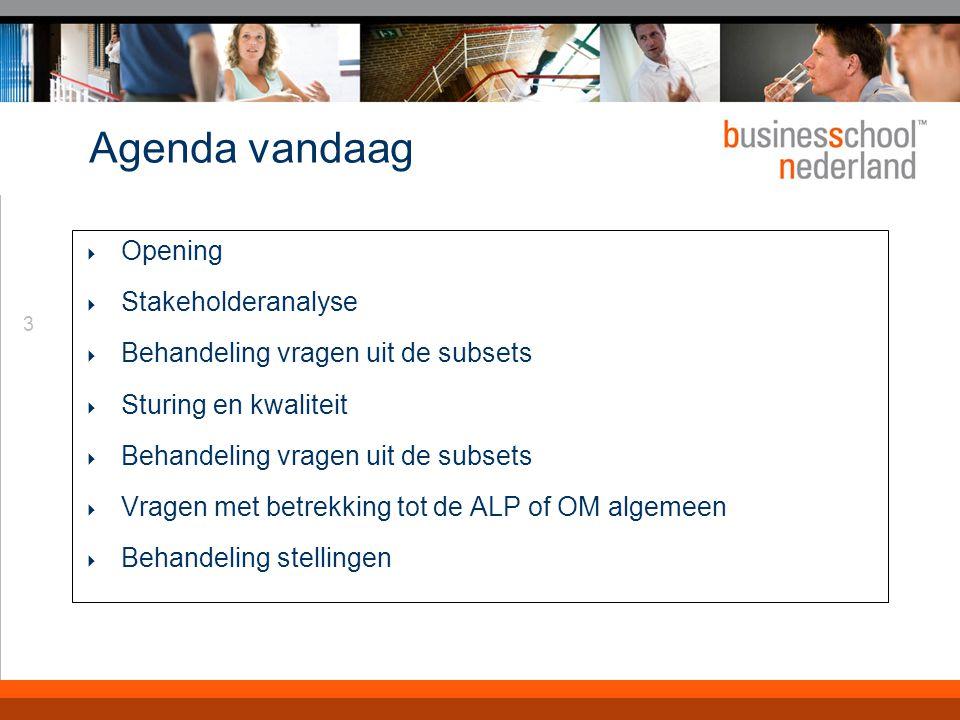 3 Agenda vandaag  Opening  Stakeholderanalyse  Behandeling vragen uit de subsets  Sturing en kwaliteit  Behandeling vragen uit de subsets  Vrage