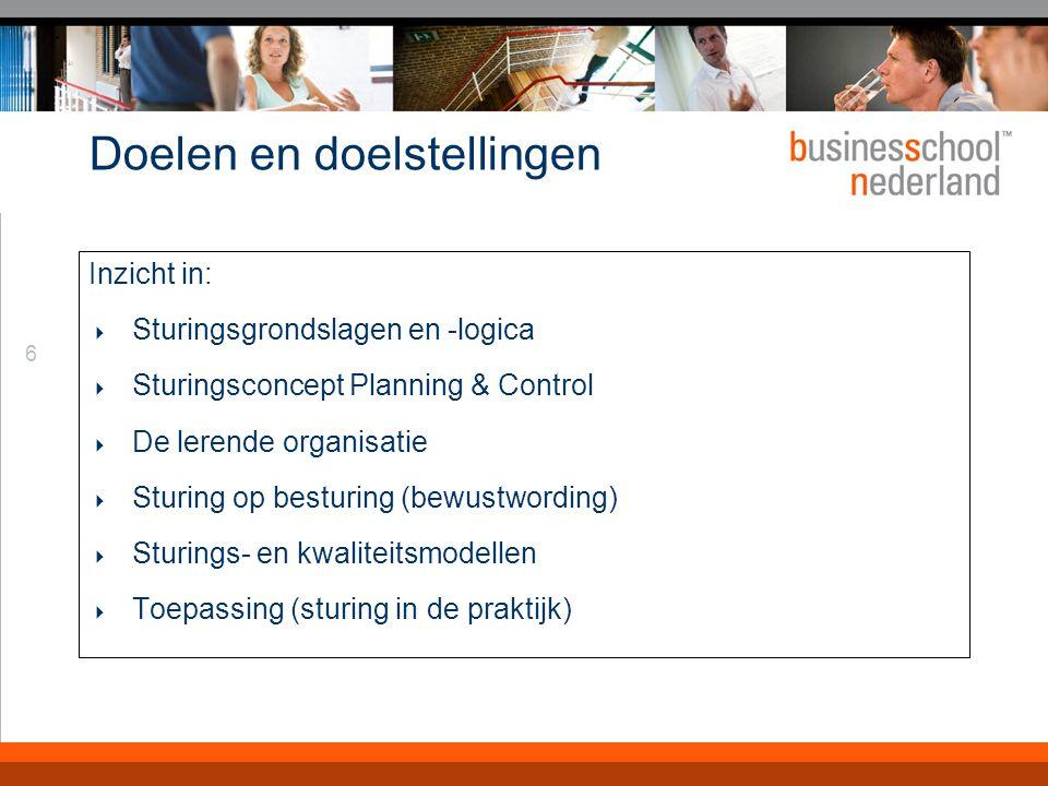 6 Doelen en doelstellingen Inzicht in:  Sturingsgrondslagen en -logica  Sturingsconcept Planning & Control  De lerende organisatie  Sturing op bes