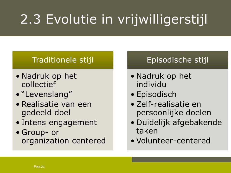 """Pag. 2.3 Evolutie in vrijwilligerstijl Traditionele stijl Nadruk op het collectief """"Levenslang"""" Realisatie van een gedeeld doel Intens engagement Grou"""