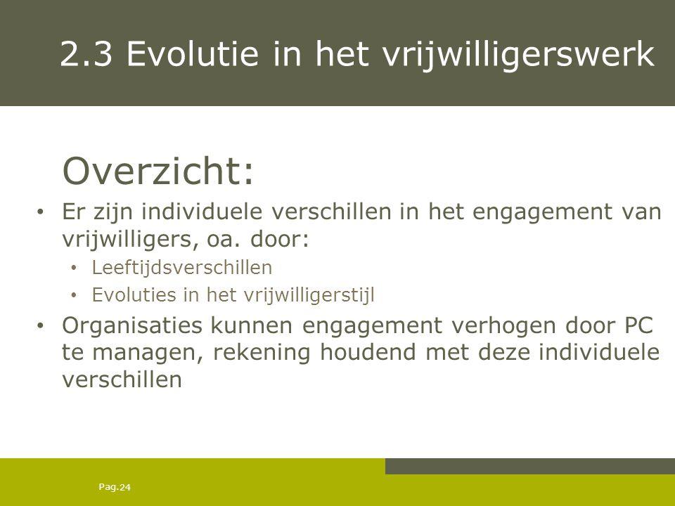 Pag. 2.3 Evolutie in het vrijwilligerswerk Overzicht: Er zijn individuele verschillen in het engagement van vrijwilligers, oa. door: Leeftijdsverschil