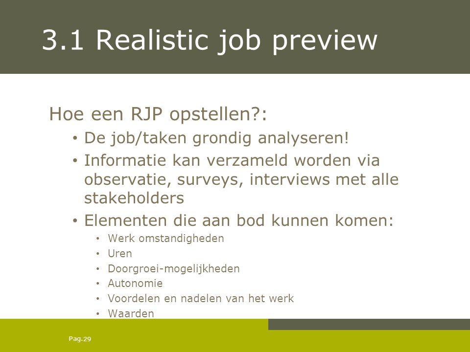 Pag. 3.1 Realistic job preview Hoe een RJP opstellen?: De job/taken grondig analyseren! Informatie kan verzameld worden via observatie, surveys, inter
