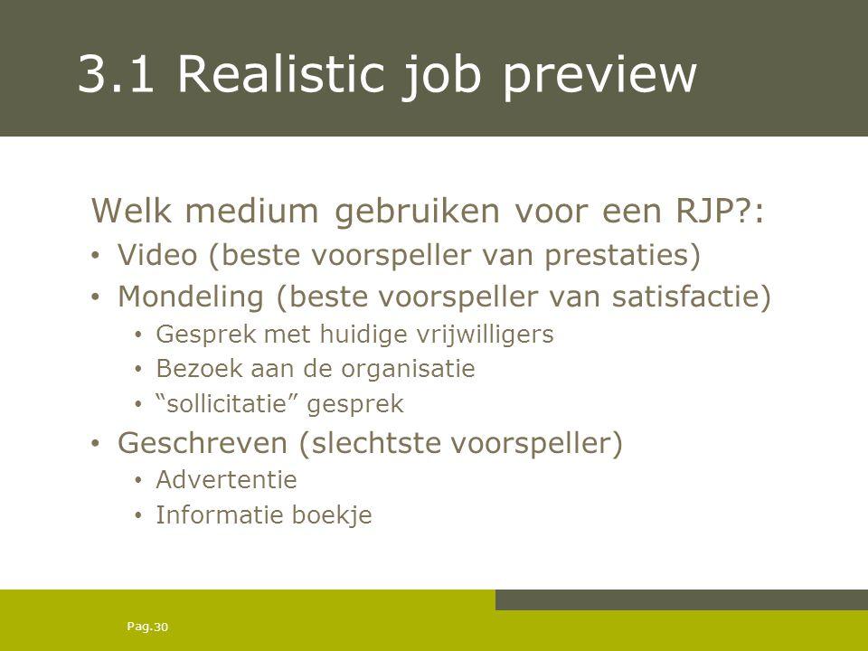 Pag. 3.1 Realistic job preview Welk medium gebruiken voor een RJP?: Video (beste voorspeller van prestaties) Mondeling (beste voorspeller van satisfac