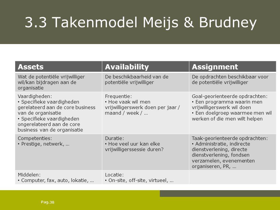 Pag. 3.3 Takenmodel Meijs & Brudney AssetsAvailabilityAssignment Wat de potentiële vrijwilliger wil/kan bijdragen aan de organisatie De beschikbaarhei