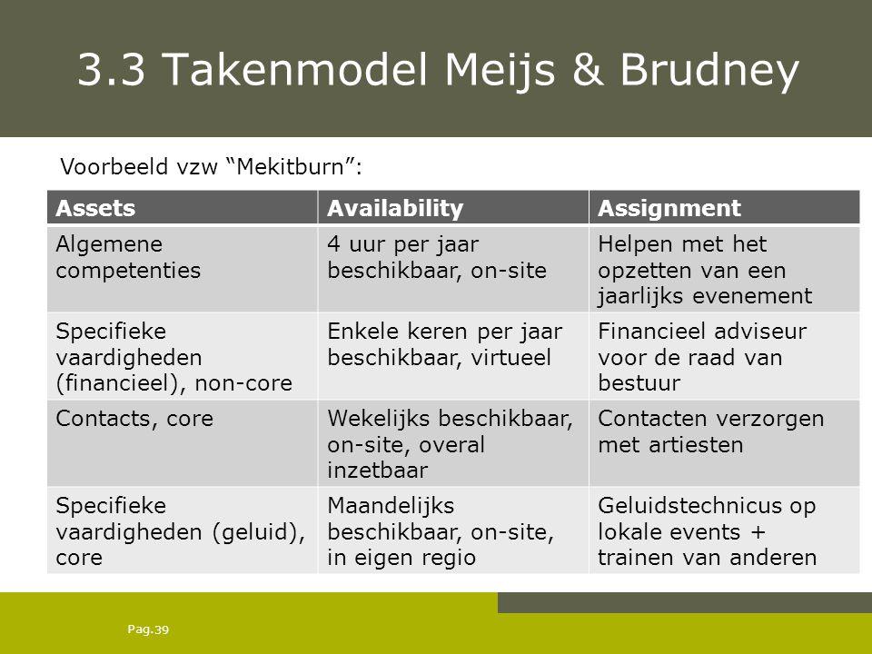 Pag. 3.3 Takenmodel Meijs & Brudney AssetsAvailabilityAssignment Algemene competenties 4 uur per jaar beschikbaar, on-site Helpen met het opzetten van