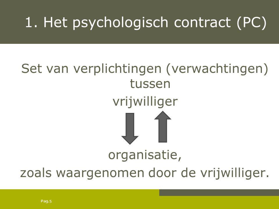 Pag. 1. Het psychologisch contract (PC) Set van verplichtingen (verwachtingen) tussen vrijwilliger organisatie, zoals waargenomen door de vrijwilliger