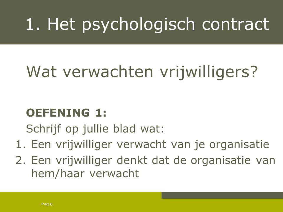Pag. 1. Het psychologisch contract Wat verwachten vrijwilligers? OEFENING 1: Schrijf op jullie blad wat: 1.Een vrijwilliger verwacht van je organisati