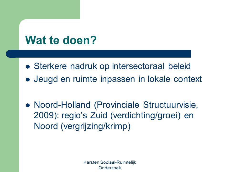 Wat te doen? Sterkere nadruk op intersectoraal beleid Jeugd en ruimte inpassen in lokale context Noord-Holland (Provinciale Structuurvisie, 2009): reg