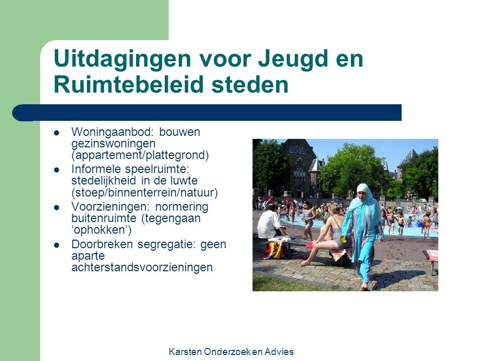 Karsten Onderzoek en Advies Uitdagingen voor Jeugd en Ruimtebeleid steden Woningaanbod: bouwen gezinswoningen (appartement/plattegrond) Informele spee