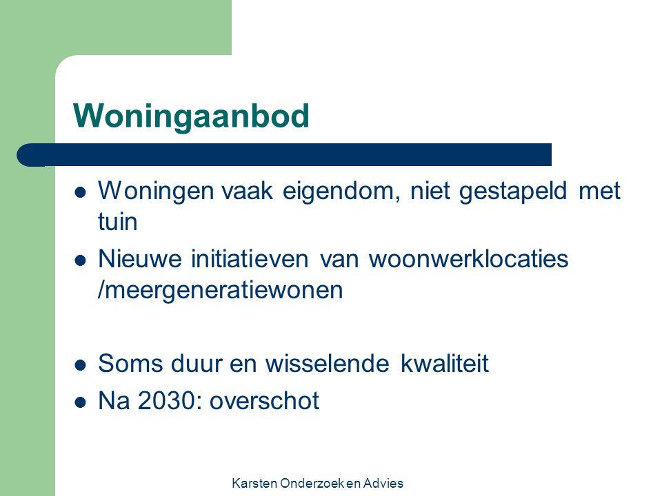 Karsten Onderzoek en Advies Woningaanbod Woningen vaak eigendom, niet gestapeld met tuin Nieuwe initiatieven van woonwerklocaties /meergeneratiewonen