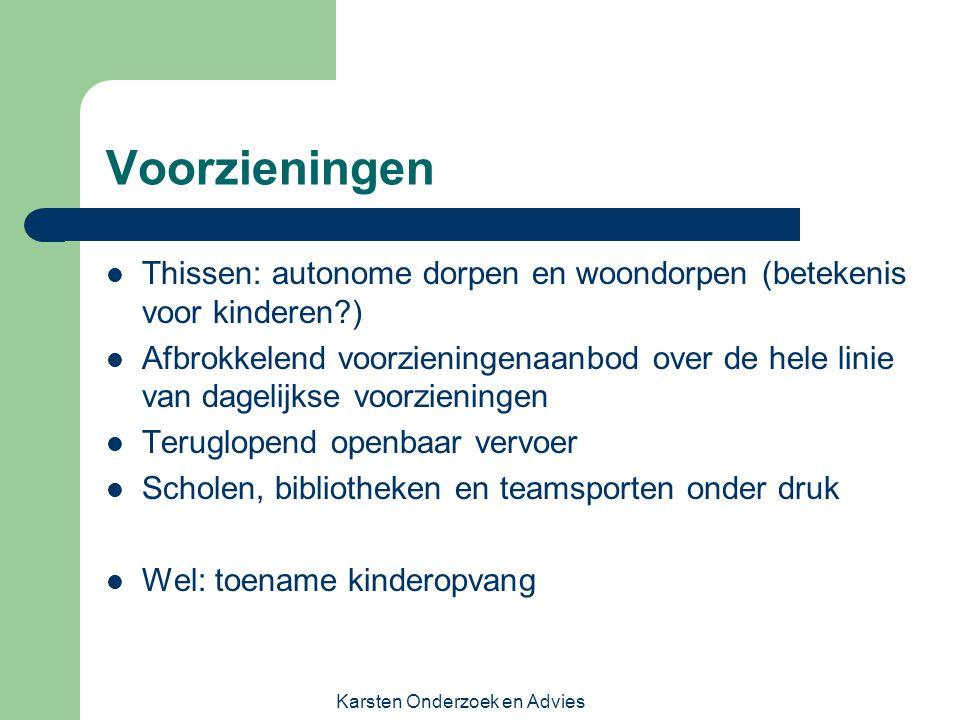 Karsten Onderzoek en Advies Voorzieningen Thissen: autonome dorpen en woondorpen (betekenis voor kinderen?) Afbrokkelend voorzieningenaanbod over de h