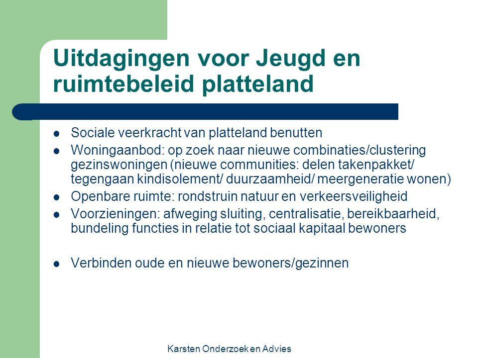 Karsten Onderzoek en Advies Uitdagingen voor Jeugd en ruimtebeleid platteland Sociale veerkracht van platteland benutten Woningaanbod: op zoek naar ni