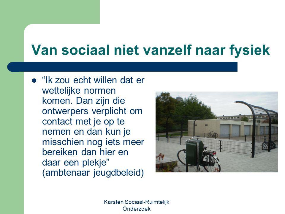 """Karsten Sociaal-Ruimtelijk Onderzoek Van sociaal niet vanzelf naar fysiek """"Ik zou echt willen dat er wettelijke normen komen. Dan zijn die ontwerpers"""