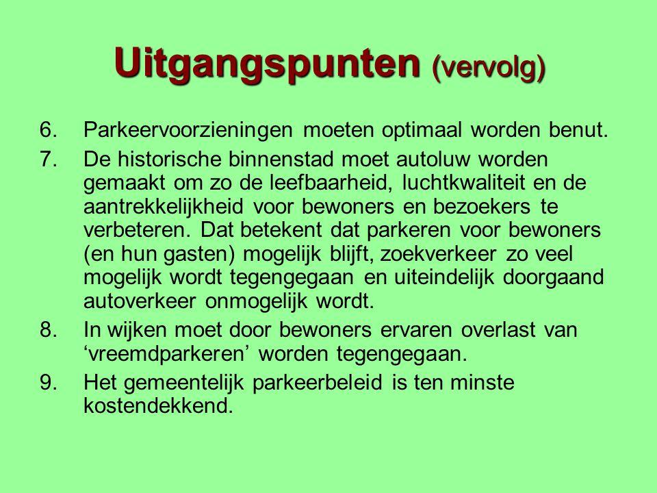 Uitgangspunten (vervolg) 6.Parkeervoorzieningen moeten optimaal worden benut.