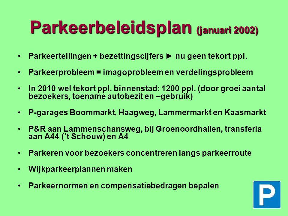 Parkeertarieven Parkeertarieven (vervolg) Conclusies voor Leiden: Hoogste uurtarief (geldt sinds 1/1 2003) is marktconform, maar geldt voor een groot centrum (binnen singels) 'Concurrerende' regiogemeenten Zoetermeer en Alphen a/d Rijn zijn goedkoper (Leidsenhage: 3000 gratis ppl.) Tarief in garages relatief laag Tarieven vergunningen relatief hoog Keuzepunten voor beleid: Differentiatie aanbrengen in hoogte tarieven binnen en buiten beker: verhogen binnen beker, verlagen buiten beker Tarieven garages in verhouding brengen met straatparkeren Tarief vergunning in woonwijken verlagen in combinatie met kortere periode van betaalplicht Tarief vergunning relateren aan mate van milieubelasting auto's Parkeergarages 24 uur per etmaal open