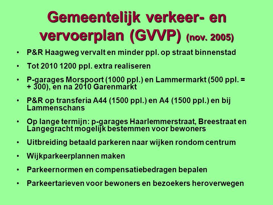 Gemeentelijk verkeer- en vervoerplan (GVVP) (nov. 2005) P&R Haagweg vervalt en minder ppl.