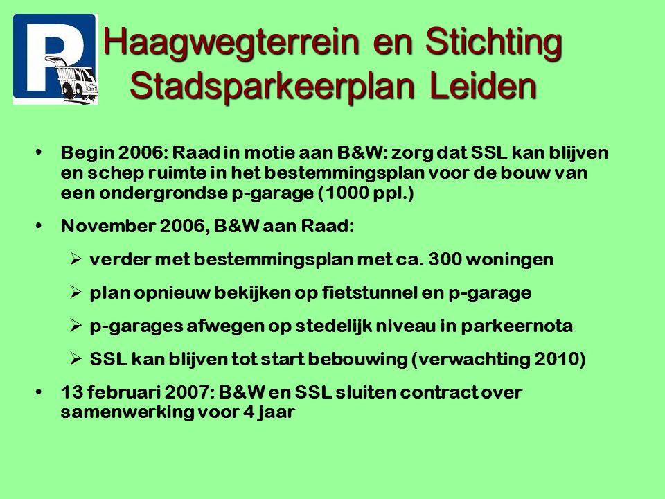 Haagwegterrein en Stichting Stadsparkeerplan Leiden Begin 2006: Raad in motie aan B&W: zorg dat SSL kan blijven en schep ruimte in het bestemmingsplan voor de bouw van een ondergrondse p-garage (1000 ppl.) November 2006, B&W aan Raad:  verder met bestemmingsplan met ca.