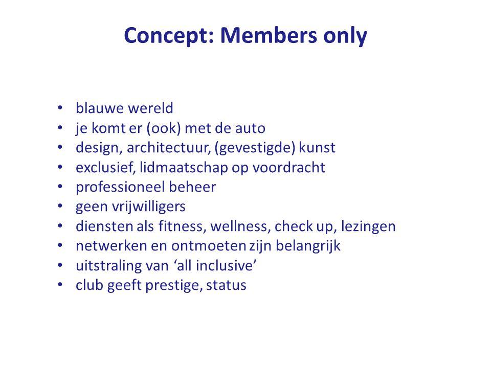 Concept: Members only blauwe wereld je komt er (ook) met de auto design, architectuur, (gevestigde) kunst exclusief, lidmaatschap op voordracht professioneel beheer geen vrijwilligers diensten als fitness, wellness, check up, lezingen netwerken en ontmoeten zijn belangrijk uitstraling van 'all inclusive' club geeft prestige, status