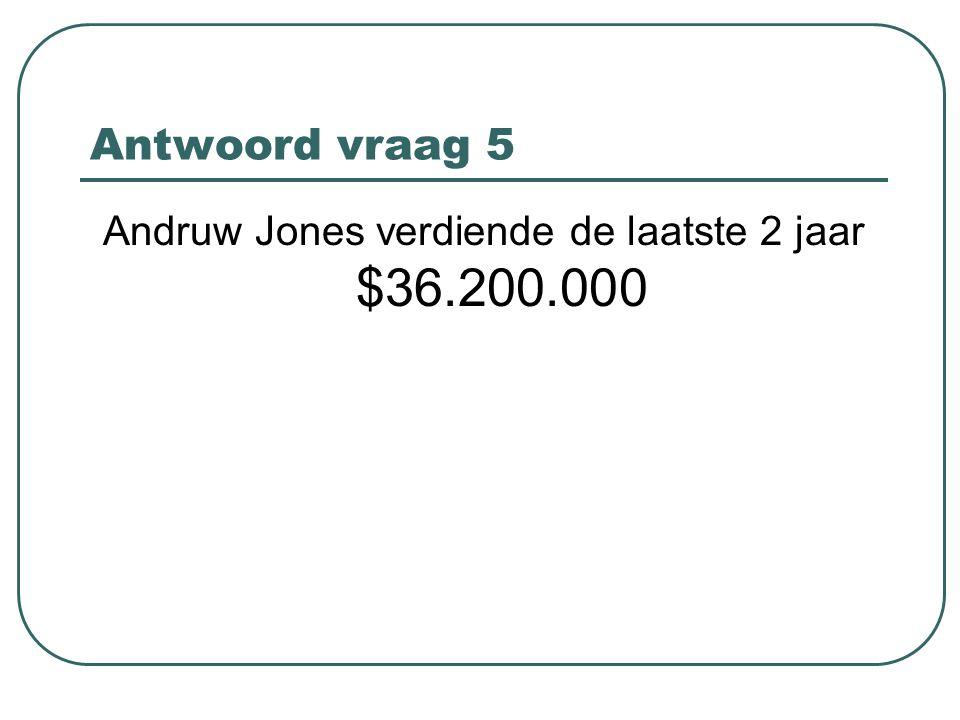 Antwoord vraag 5 Andruw Jones verdiende de laatste 2 jaar $36.200.000