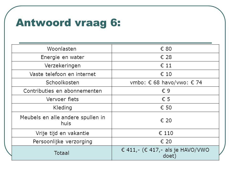 Antwoord vraag 6: Woonlasten € 80 Energie en water € 28 Verzekeringen € 11 Vaste telefoon en internet € 10 Schoolkosten vmbo: € 68 havo/vwo: € 74 Cont
