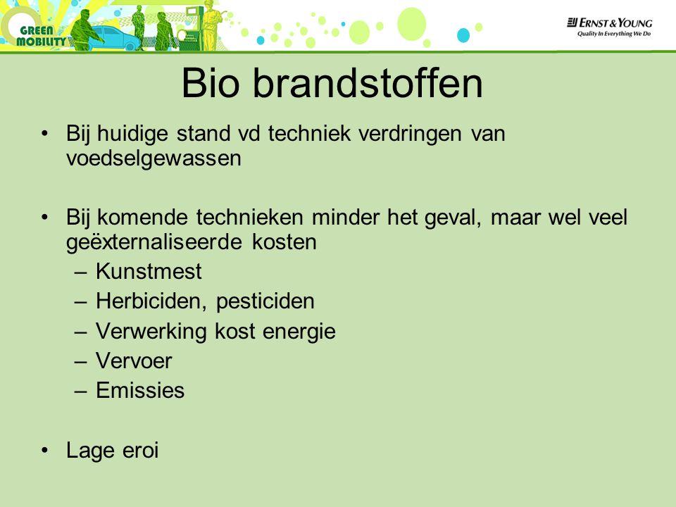 Bio brandstoffen Bij huidige stand vd techniek verdringen van voedselgewassen Bij komende technieken minder het geval, maar wel veel geëxternaliseerde kosten –Kunstmest –Herbiciden, pesticiden –Verwerking kost energie –Vervoer –Emissies Lage eroi