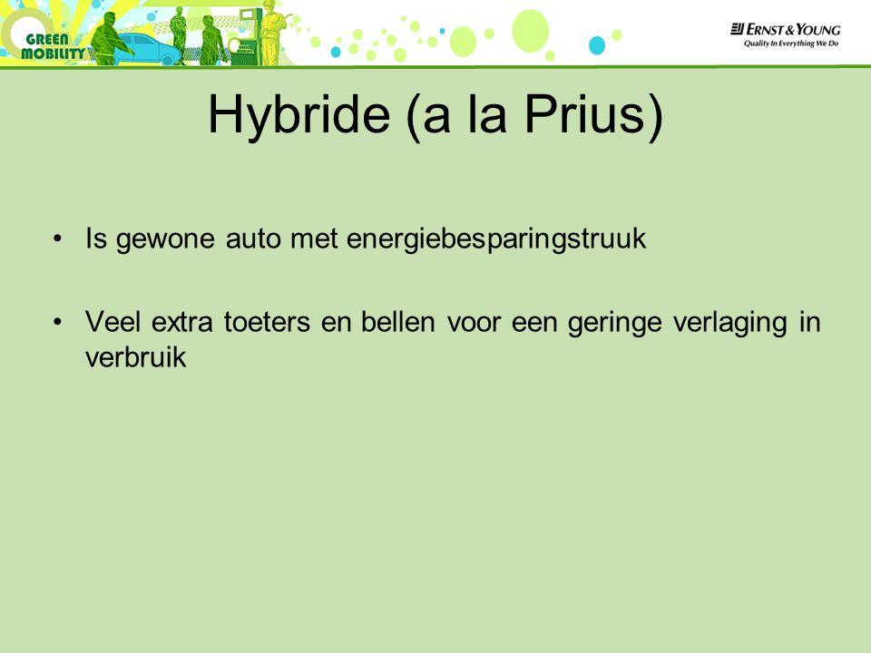 Hybride (a la Prius) Is gewone auto met energiebesparingstruuk Veel extra toeters en bellen voor een geringe verlaging in verbruik