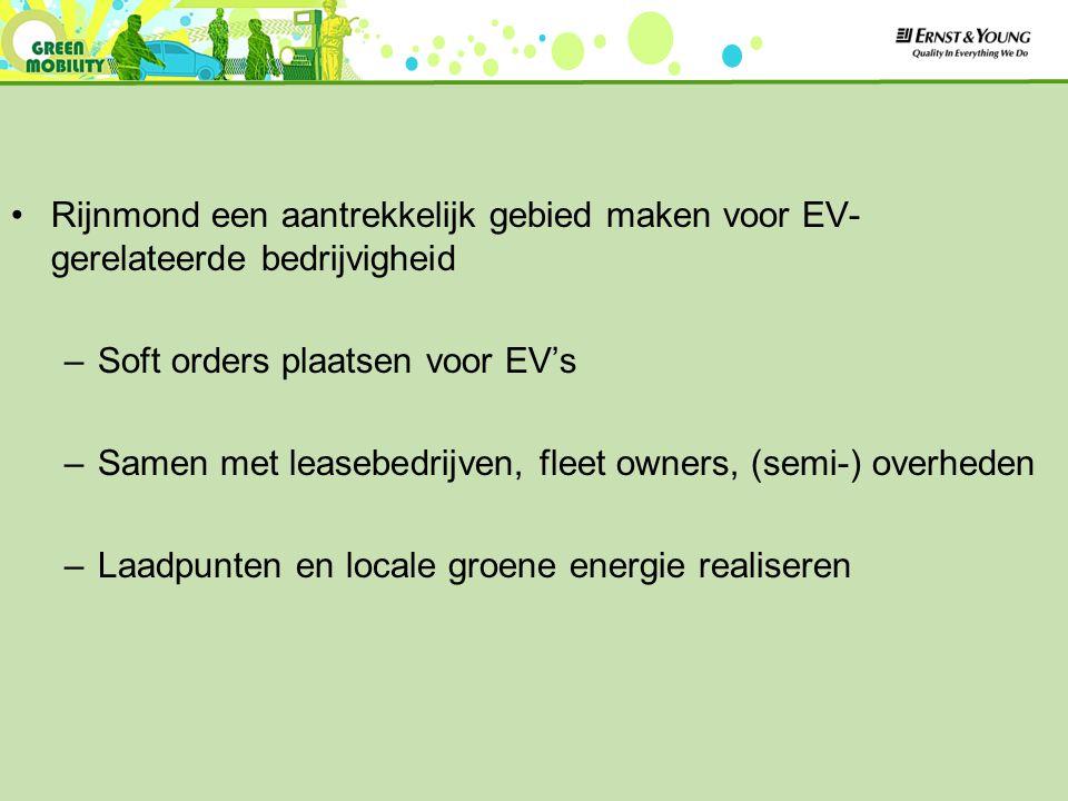 Rijnmond een aantrekkelijk gebied maken voor EV- gerelateerde bedrijvigheid –Soft orders plaatsen voor EV's –Samen met leasebedrijven, fleet owners, (semi-) overheden –Laadpunten en locale groene energie realiseren